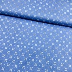 Stoff Baumwolle Klaranähta Lilien Quadrat blau