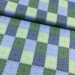 Stoff Baumwolle Klaranähta Patch Ornamente Quadrat grün blau