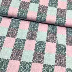 Stoff Baumwolle Klaranähta Patch Ornamente Quadrat  grau rosa