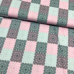 Stoff beschichtete Baumwolle Klaranähta Patch Ornamente Quadrat grau rosa