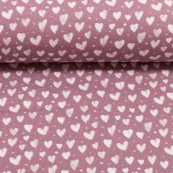 Stoff Baumwolljersey Mini Winter Herzen rosa