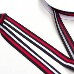 Elastic-Band gestreift schwarz weiß rot 25mm Galonstreifen