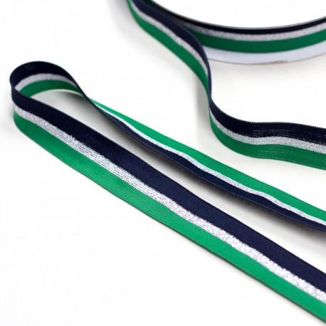 Elastic-Band gestreift grün silber marine mit Glitzer 25mm Galonstreifen