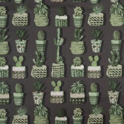 Stoff Baumwolle beschichtet Leona anthrazit mit Kakteen / Kaktus