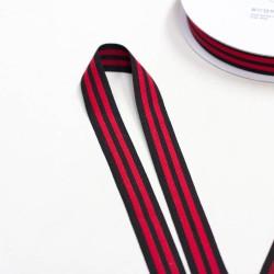 Elastic-Band gestreift schwarz rot 25mm Galonstreifen