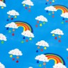 Regenjackenstoff bedruckt blau mit Regenbogen Wolken