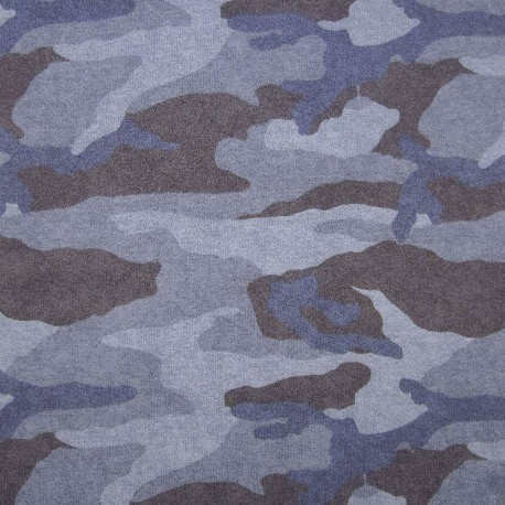 Stoff Frech Terry CAMOUFLAGE blau