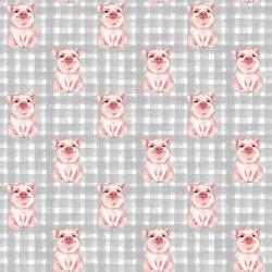 Stoff Baumwolle Popeline Schwein Schweinchen grau