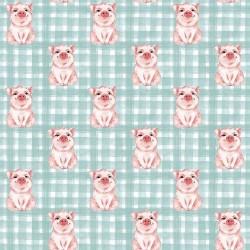 Stoff Baumwolle Popeline Schwein Schweinchen mint