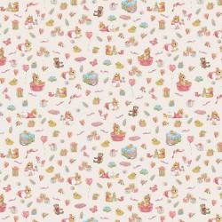 Stoff Baumwolle Popeline Sweet Bunny beige