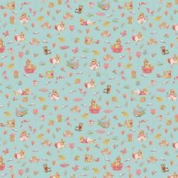 Stoff Baumwolle Popeline Sweet Bunny mint