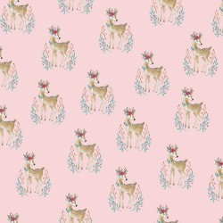 Stoff Baumwolle Popeline Woodland Deer rosa