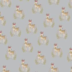 Stoff Baumwolle Popeline Woodland Deer grau