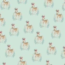 Stoff Baumwolle Popeline Woodland Deer mint