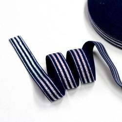 Elastic-Band gestreift mit Lurex silber dunkelblau 20mm breit