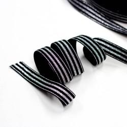 Elastic-Band gestreift mit Lurex silber schwarz 20mm breit