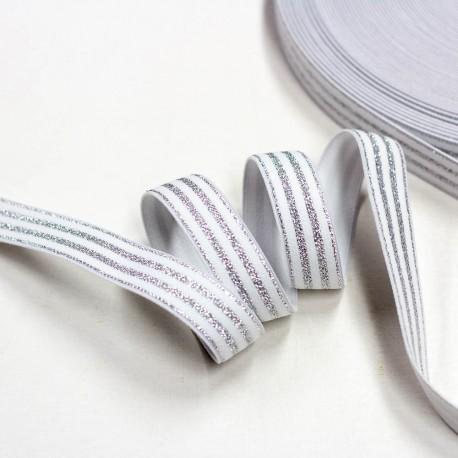 Elastic-Band gestreift mit Lurex silber offweiß 20mm breit