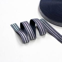 Elastic-Band gestreift mit Lurex silber dunkelgrau 20mm breit