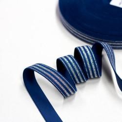 Elastic-Band gestreift mit Lurex silber jeans 20mm breit
