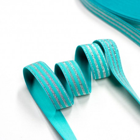 Elastic-Band gestreift mit Lurex silber mint  20mm breit
