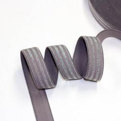 Elastic-Band gestreift mit Lurex taupe mint  20mm breit