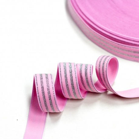 Elastic-Band gestreift mit Lurex silber rosa  20mm breit