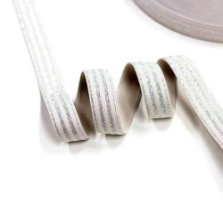 Elastic-Band gestreift mit Lurex silber sand 20mm breit