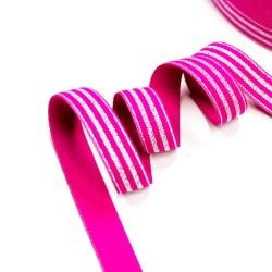 Elastic-Band gestreift mit Lurex silber pink  20mm breit
