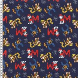 Stoff Jersey PAW PATROL dunkelblau mit Buchstaben