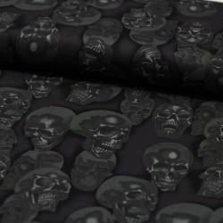 Baumwollstoff Nicoles Prints Mist + Bone Skull anthrazit Alexander Henry