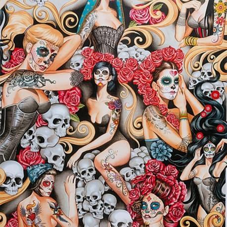 Baumwollstoff Las Elegantes Bright Smoke Frauen Skull Alexander Henry