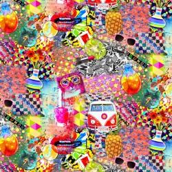 Dekostoff Stoff Digital Multicolor Kitsch