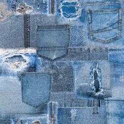 Stoff Dekostoff Jeans Tasche Pop Art