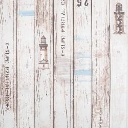 Stoff Dekostoff Maritim Holzplanken Leuchtturm