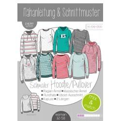 Damen Mix&Match Sweater/Hoodie  Schnittmuster und Anleitung als Broschüre