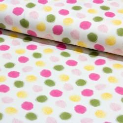 Stoff Baumwolljersey Mini Sommer Punkte rosa gelb oliv