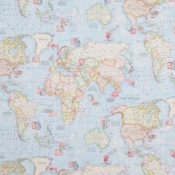 Stoff Dekostoff Weltkarte