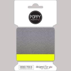 Stoff Cuff College Bündchen grau meliert neon gelb 135cm breit