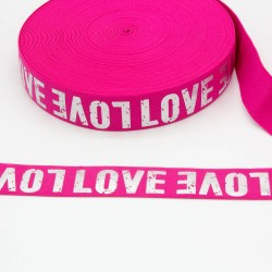 Elastic-Band mit silber Print LOVE 40mm pink