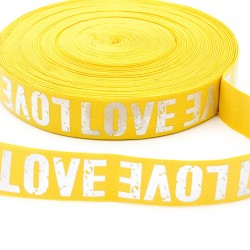 Elastic-Band mit silber Print LOVE 40mm gelb