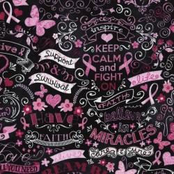 Baumwollstoff Timeless Treasure Pink Ribbon Chalkboard
