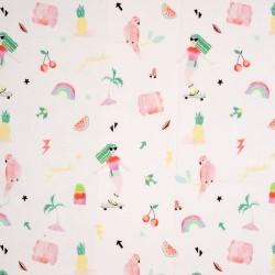Stoff Baumwolle Voile MONI Mädchen Vögel Regenbogen