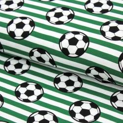 Baumwolljersey Fußball Streifen grün weiß