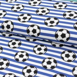 Baumwolljersey Fußball Streifen blau weiß