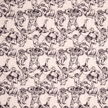 Stoff Sweat French Terry Monkeys by Cherry Picking ecru