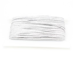 Flechtkordel Glitzer 5mm weiß