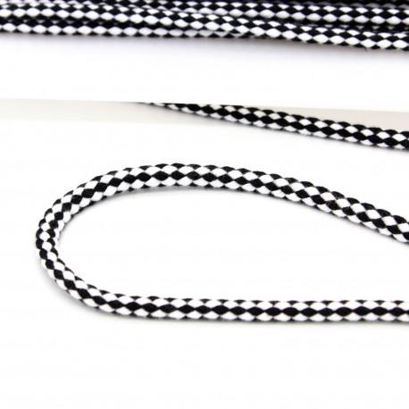Baumwollkordel zweifarbig 6mm schwarz weiß