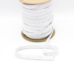 Baumwollkordel Hoodieband 20mm flach metallic weiß