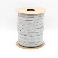Baumwollkordel Hoodieband 20mm flach metallic grau