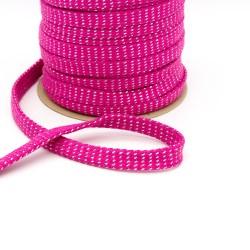 Baumwollkordel Hoodieband 20mm flach metallic pink